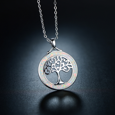18K White Gold Plated & Fire Opal Tree Of Life Pendant Necklace