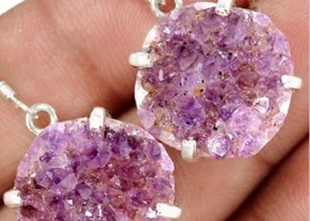 Amethyst Druzy Earrings .925 Sterling Silver