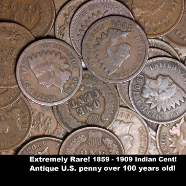 EXTREMELY RARE GENUINE 1859 - 1909 ANTIQUE INDIAN HEAD CENT! OUTSTANDING! MINTED