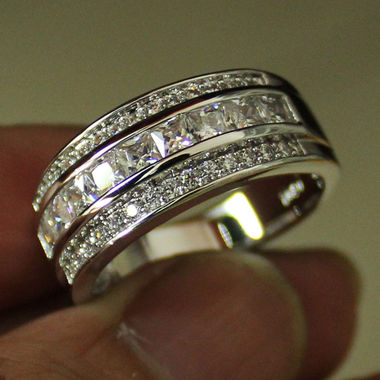 Jewelry White CZ Wedding Ring Gift B56
