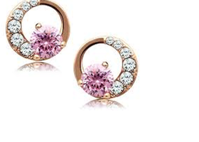 Beautiful Pink Crystal Earrings SS 18KRGP