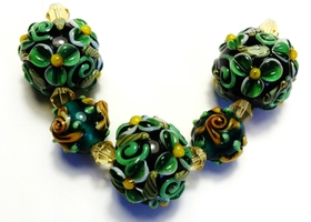 * Green Florals Lampwork Glass Bead Set