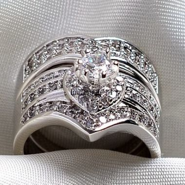 Jewelry Vintage White CZ Engagement Ring Set C23