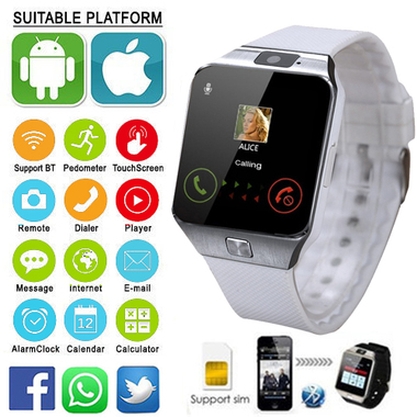 Bluetooth Smart Watch Pedometer Camera, Anti lost 32GB & SIM Support For Phone