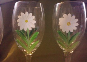 Hand Painted Wine Glasses Set Of 4