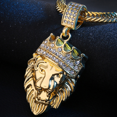 3CTW Genuine AAA zircon And Crown Lion King Pendant 18K Gold Filled