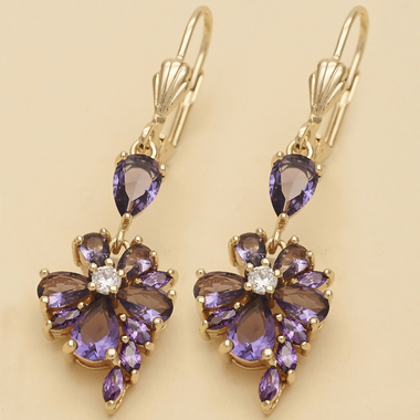 4.5 Ctw Amethyst and White Sapphire Brilliant Cut, Gold Filled, Earrings Long (F