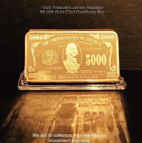 1928 President James Madison $5,000 Gold Clad by worldbusinesszone