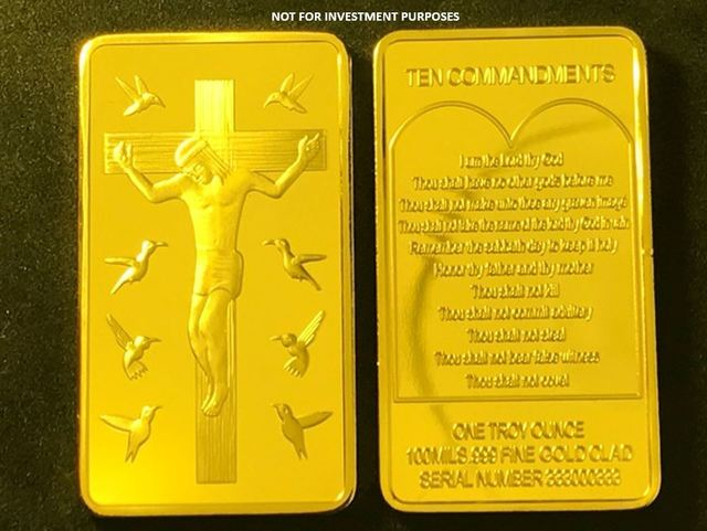 1 Oz .999 Fine Gold Clad Jesus Crucifixion / Ten Commandments Bar