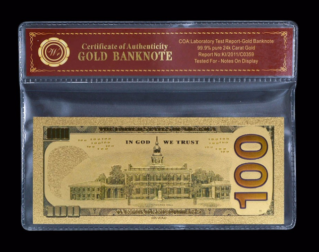 $100 US 24k Gold Foil By World Business Zone