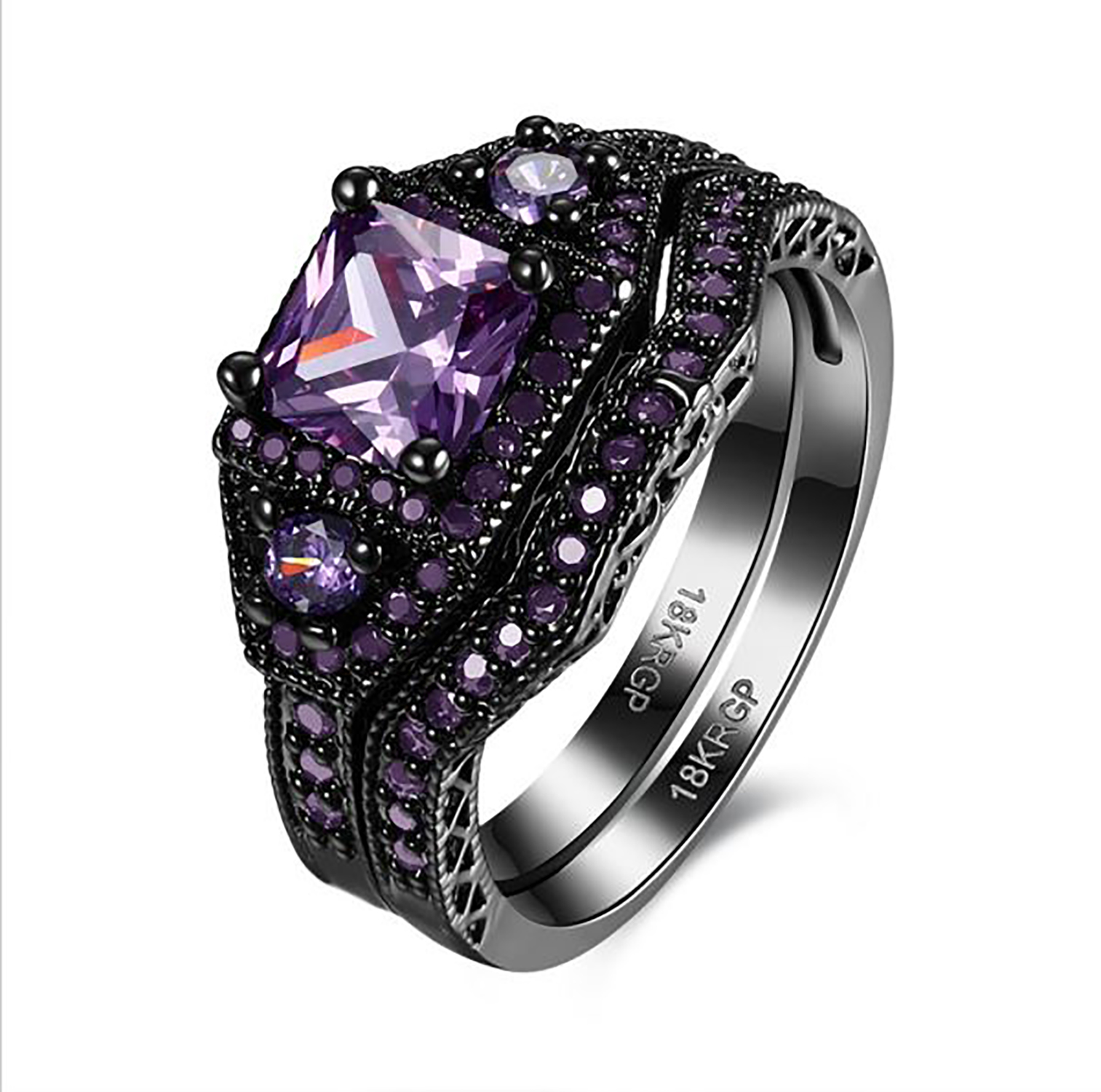 danielle purple cz black plated bridal engagement and wedding band