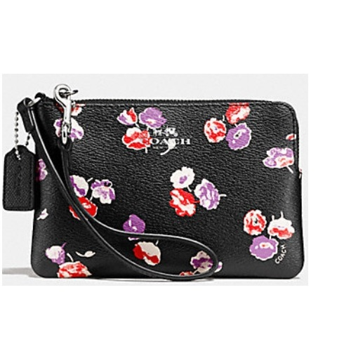 coach pink and gray purse fyuo  NWT Coach Corner Zip Small Wristlet In Wildflower