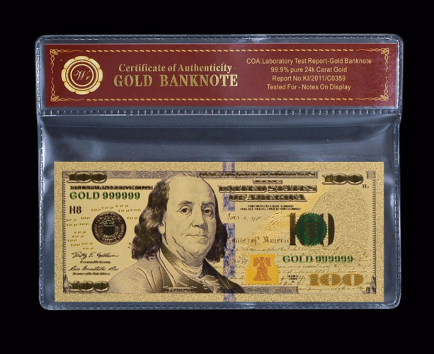24k Gold Foil Polymer Collectors US $100 By World Business Zone