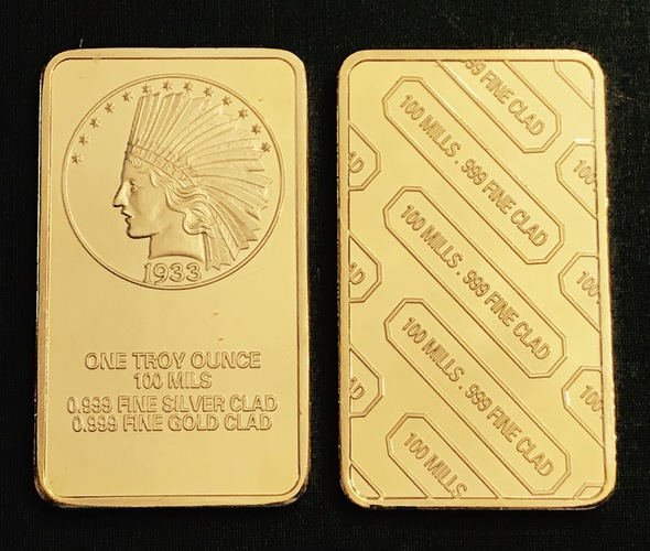 1933 Gold Indian Eagle Bar 24Kt Gold Clad