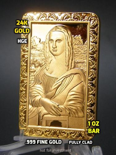 Fine Gold clad bar Mona Lisa by worldbusinesszone.com